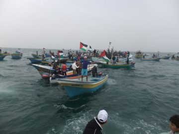 Gaza fishers protest the blockade of their fishery. Photo: Kevin Neish