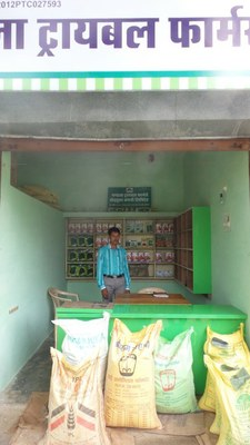 Storefront of the Mandla Tribal Farmer Producer Company selling high quality millet seed to local farmers. Photo: Gennifer Meldrum