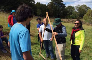 Teaching students how to use the A-frame to mark contours on a hill side in Chiloe, Chile. Photo: Clara Nicholls
